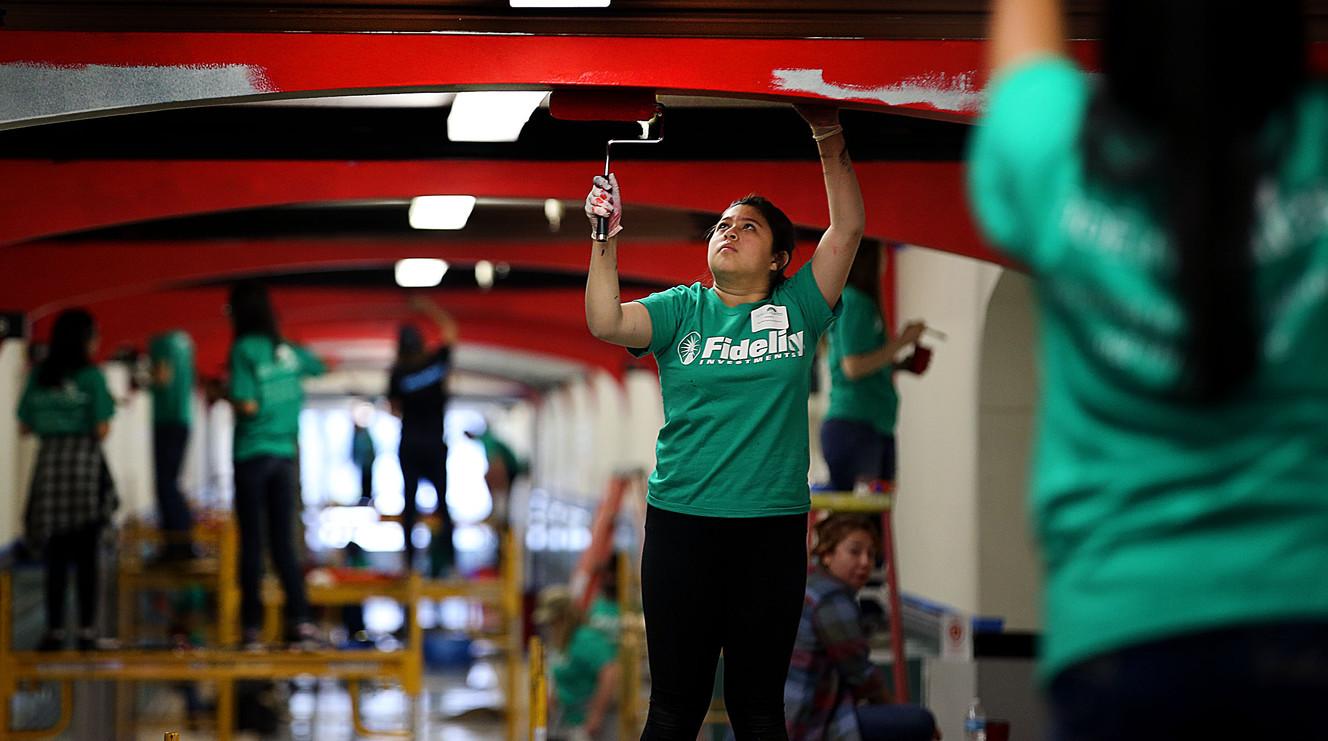 Volunteers, Fidelity employees help revitalize Utah's oldest school