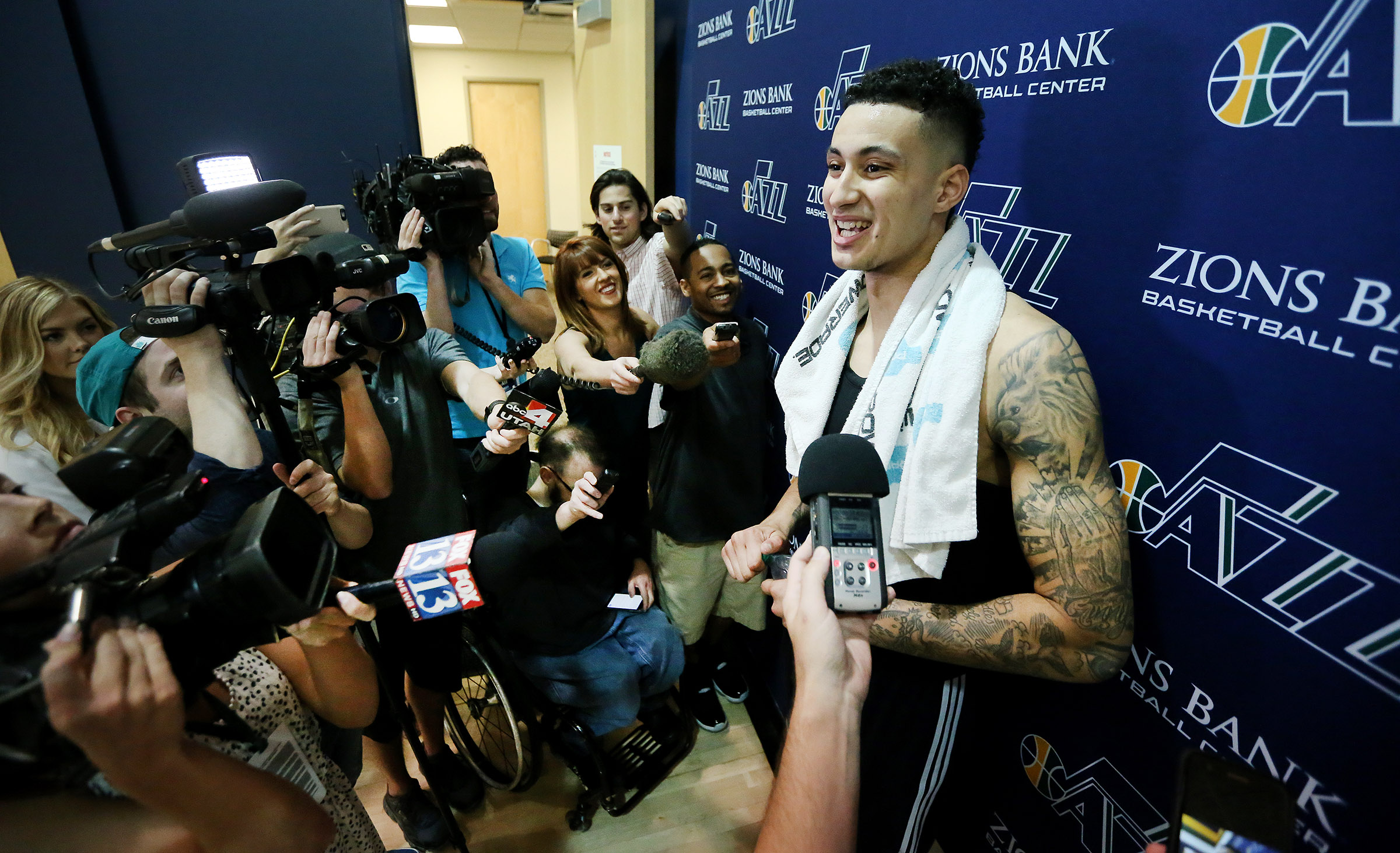 Jazz work out, talk about pro potential of BYU's Eric Mika, Utah's Kyle Kuzma