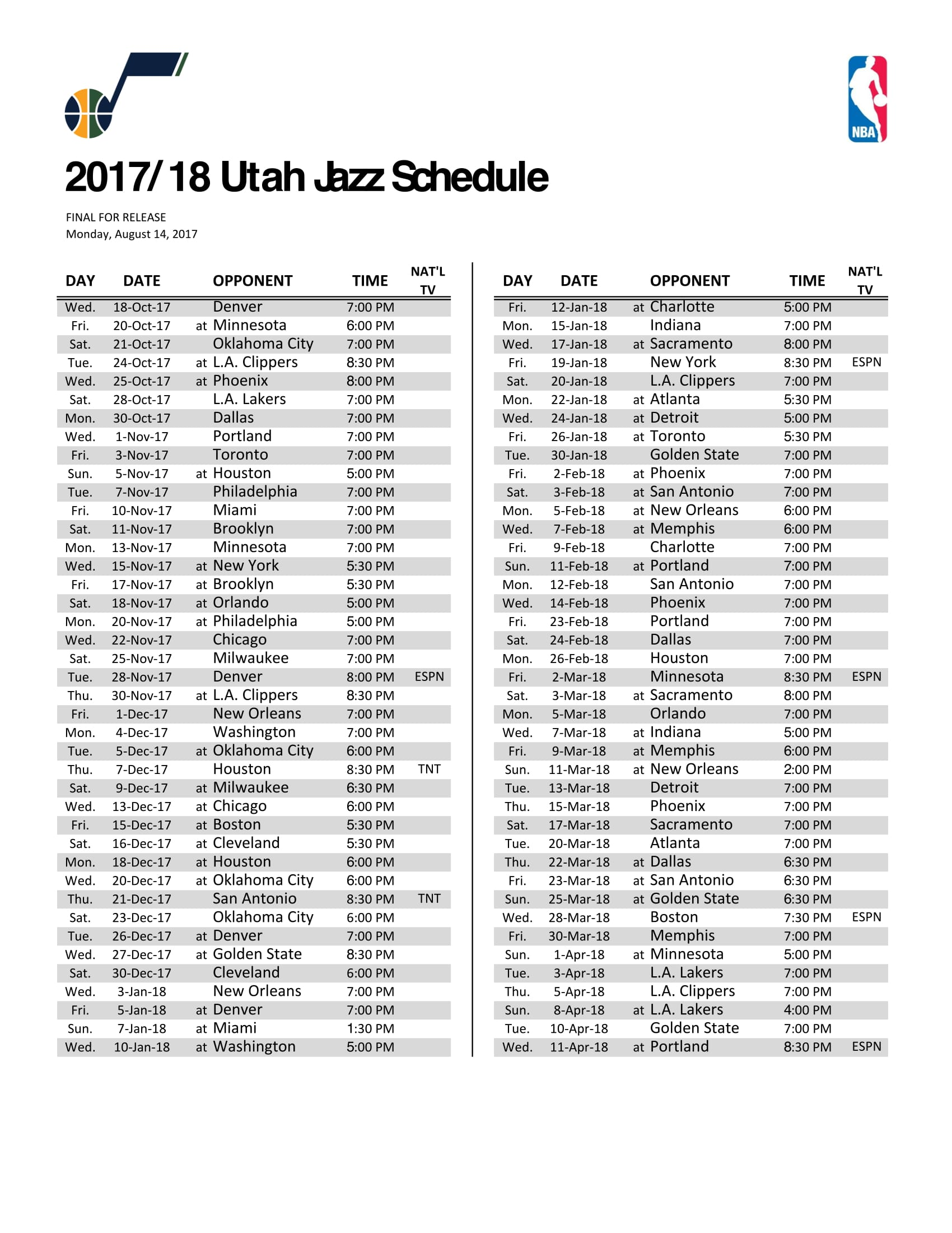 jazz announce 2017-18 regular season schedule | ksl