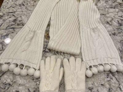 White Scarf And Gloves