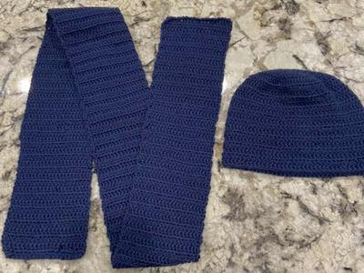Navy Crochet Scarf And Hat