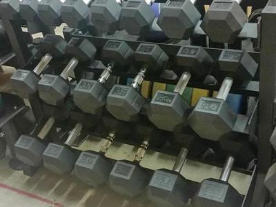 10-65LB Rubber Hex Dumbbell Set +BENCH! *DBH*CH06*