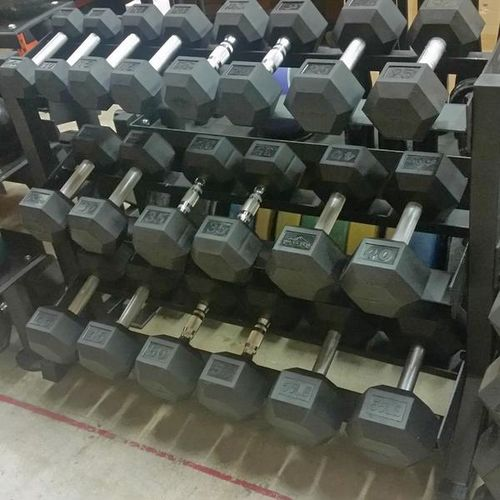 10-65LB Rubber Hex Dumbbell Set +BENCH! *DBH*CH06* for sale in Underdogs In Midvale , UT