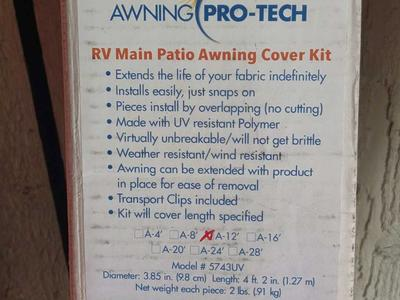 Main RV awning protective covers 20 feet total