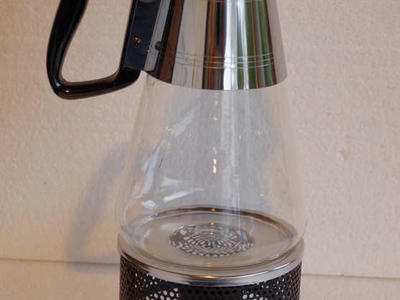 MCM Vintage Nescafe' Pyrex Beverage or Coffee Carafe With Warming Base Never Used 1956