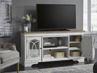 Realyn White XL TV Stand
