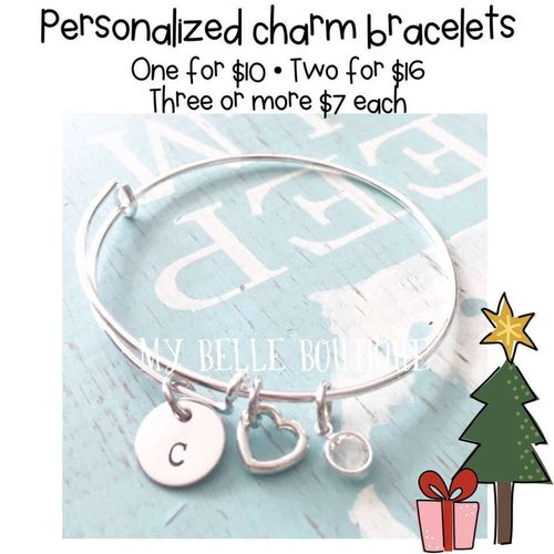 Personalized hand stamped bangle charm bracelets for sale in Sandy , UT
