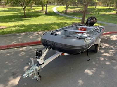 Saturn Inflatable Raft Boat with Suzuki Motor, Trailer, and Canopy 12.5ft