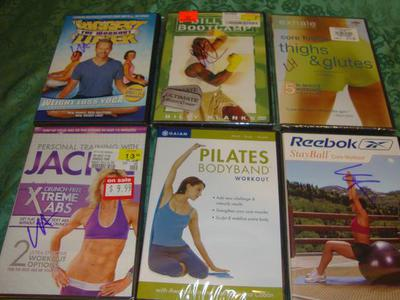 6 Work-Out DVDs -Pilates, Stayball, Xtreme Abs etc