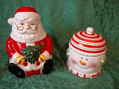 2 Ceramic Christmas Cookie Jar Santa Claus Snowman