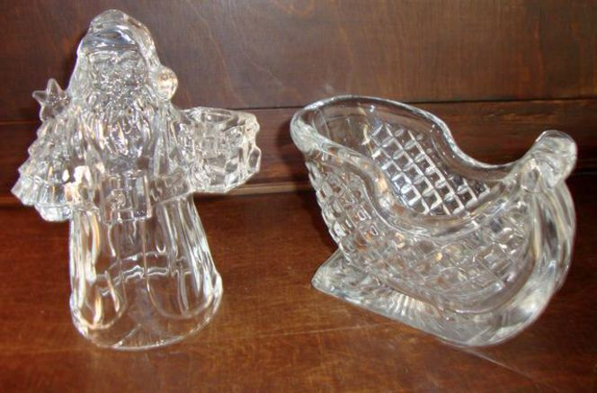 24 % Lead Crystal Santa Candle Holder & Sleigh Christmas Decor for sale in Taylorsville , UT