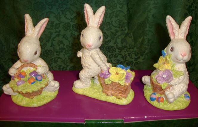 2 Boxes of 3 Each New Vintage Looking Easter Bunny Rabbit Decor for sale in Taylorsville , UT