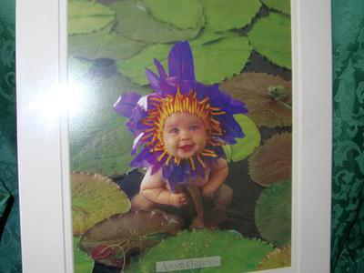 New Matted Art Anne Geddes Waterlily Litho  11 X 14