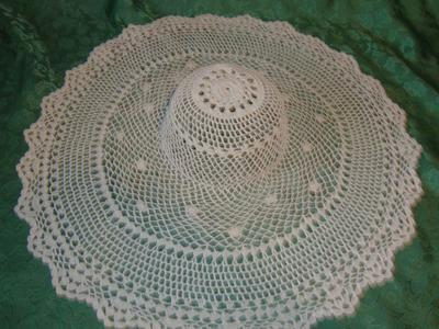 Vintage White Doily Crochet Hat For Fun Wall  Or Door Decor