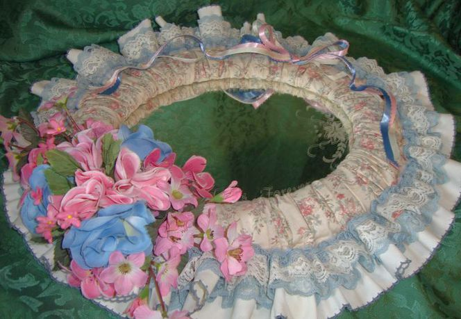 Fabric Cloth & Floral Framed With A Mother's Saying Wall Mirror-