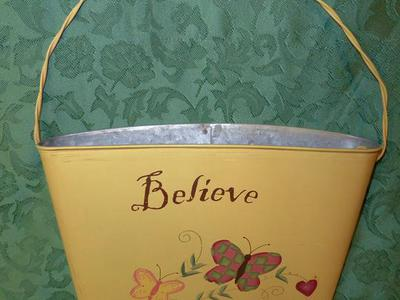 Yellow Metal Decorative Hanging Wall Pocket - Believe
