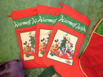 Holiday Christmas Stockings 3 Disney And 2 Red