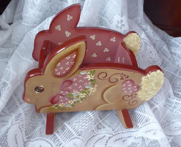 Wooden Tole Paint Easter Bunny Rabbit Candy / Treat Dish For Fun Decor for sale in Taylorsville , UT