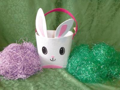 Felt Easter Bunny Rabbit Basket With 2 Bags Of Easter Grass