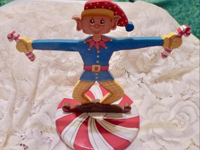 Christmas Wooden Tole Painted Candy Cane Elf Holiday Party Display for sale in Taylorsville , UT