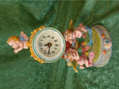 Victorian Style Ceramic Angel Clock To Sit On A Shelf