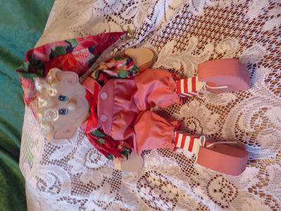 HandMade Wooden Christmas Elf W Fabric Clothes