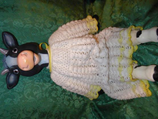 Vintage Country Farm Cow Doll Dressed in a Really Pretty White / Yellow Crochet Dress for sale in Taylorsville , UT