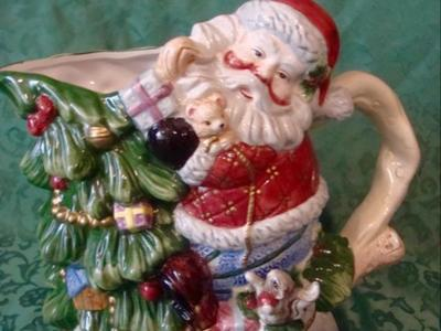 Ceramic Christmas Tree Santa Claus Serving Beverage / Water Pitcher