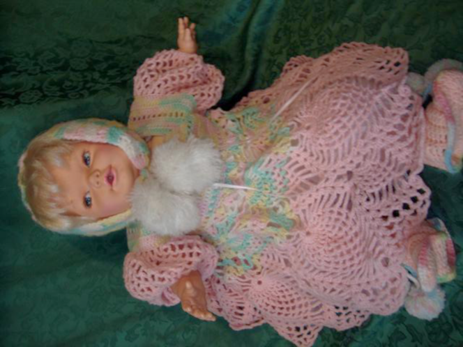 Vintage 1990 Hush Little Baby Doll By Tonka Dressed In Beautiful Crochet Outfit for sale in Taylorsville , UT