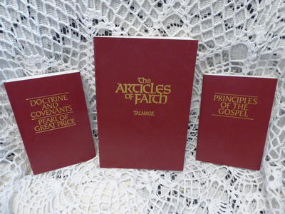 Three Piece Maroon LDS Book Set Like New Condition
