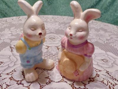 Set Of 2 Ceramic Easter Bunny Rabbits- Fun Decor