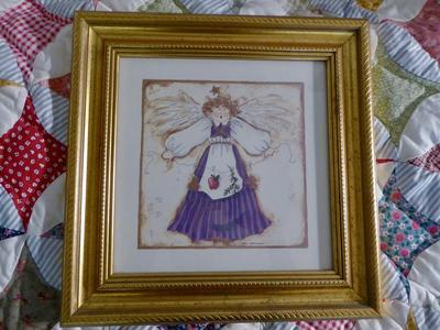 Whimsical Angel Print Art In Gold Frame Wall Decor