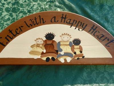 Happy Heart Folk Art Welcome Sign Wall Plaque