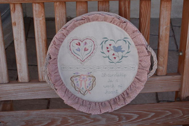 Basket W Embroidered Hearts & Flowers & Fabric- Great To Put Your Warm Rolls Inside Of for sale in Taylorsville , UT