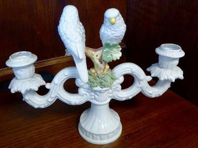 Vintage White Porcelain Italy Bird Candle Holder