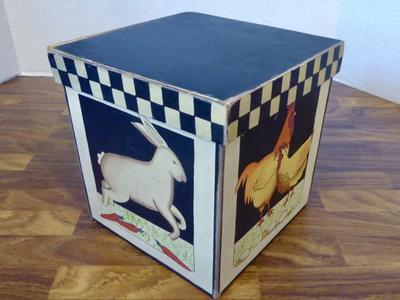 Folk Art Wood Tole Painted Rustic Farm Animal Trinket Or Jewelry Box