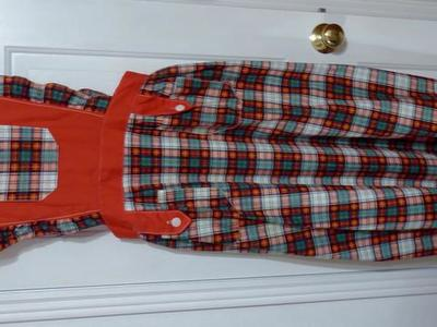 Full Length Red, Green, White Checkered Vintage Pinafore Apron Skirt Dress Like New Condition