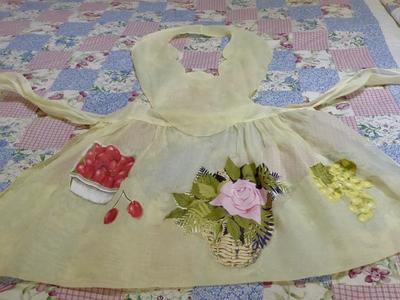 Really Pretty Women's Yellow Satiny Vintage Pinafore Tea Party Apron With Cotton Fabric Floral Appliqués