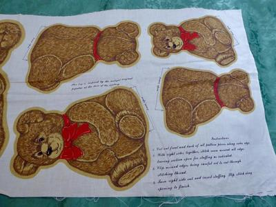 Vintage Teddy Bear Cotton Fabric Panel To Sew 3 Sizes of Fun Bears