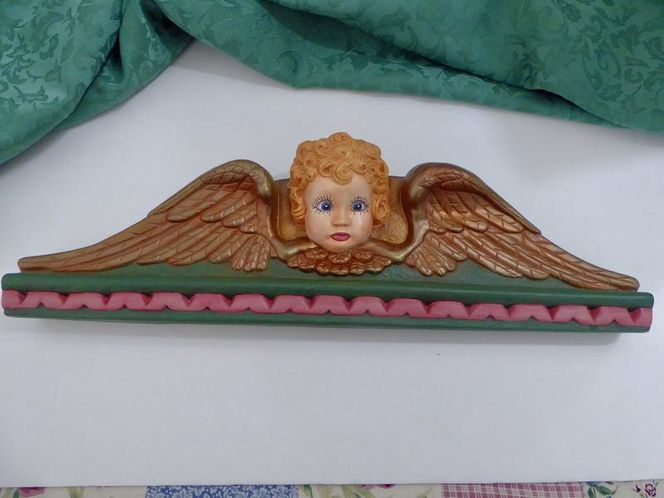 Vintage Angel Wall Hanging Decor In Greens, Pinks & Gold for sale in Taylorsville , UT