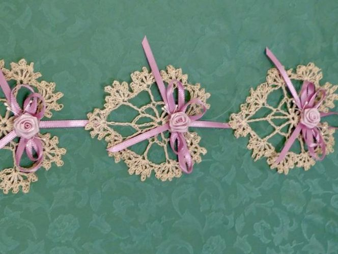 3 Hearts & Ribbons Cream Crochet Wall Hanging With Floral Rosettes for sale in Taylorsville , UT