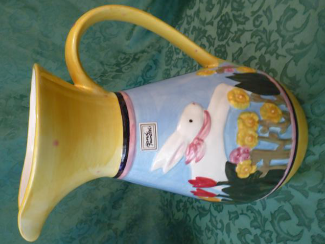Hand Painted Ceramic Pitcher / Vase With a Rabbit & Flowers For Use Or Fun Decor for sale in Taylorsville , UT