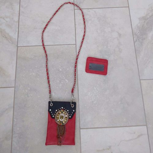 Genuine Leather Red and Black Beaded Purse for sale in Lehi , UT