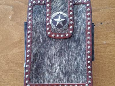 Western Cell Phone Holder Leather Cow Hide Concho