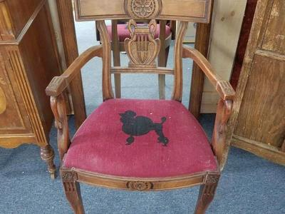 Antique Mahogony Swan Harp Arm Chair