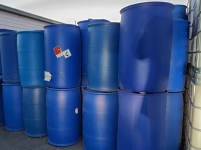 50 Gallon Barrel Drum Plastic RAIN BLUE Barrels Container