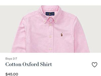 NWT RALPH LAUREN COTTON OXFORD BUTTONDOWN SZ 4