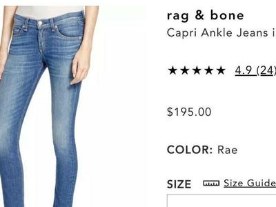 RAG & BONE WOMENS DISTRESSED JEANS SZ 28