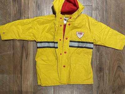 Cute fireman rain coat size 4