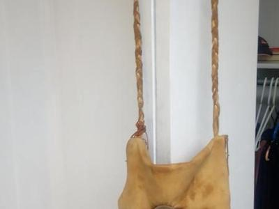 100% genuine Leather bag with real fox fur hand made